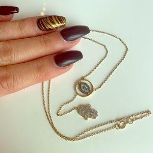 14K Diamond & Turquoise Hamsa Hand & Evil Eye